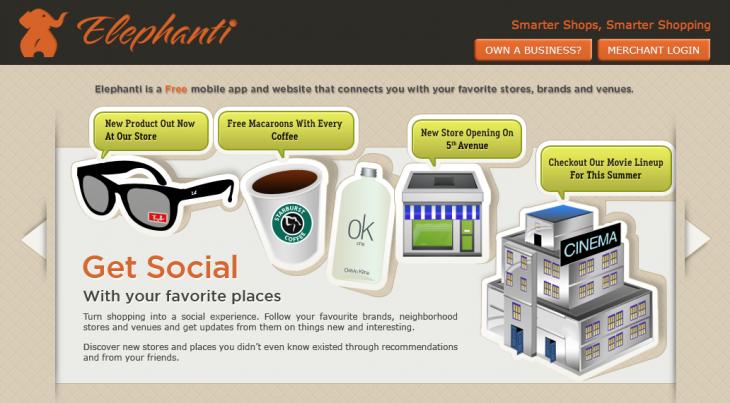 Elephanti homepage screenshot