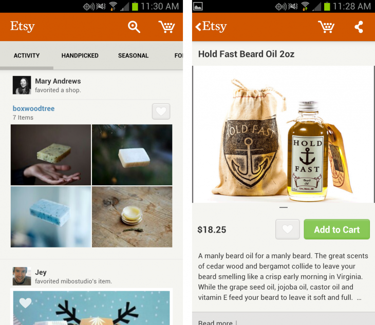 etsy 730x633 Etsy launches its first Android app in English, French, Dutch and German, after landing on the iPad