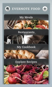 Evernote Food home screen