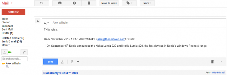 gmail quote reply 730x241 Google retracts Gmail's new 'Quote selected text' feature and puts it back into Labs after 50 days