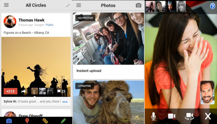 googleplus ios 730x417 Following Android, Google+ for iOS updated with inline photo album swiping, new conversation cards