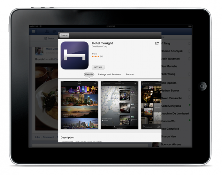 iPad2 730x576 Facebooks new mobile app install ads are nice, but its not special treatment from Apple