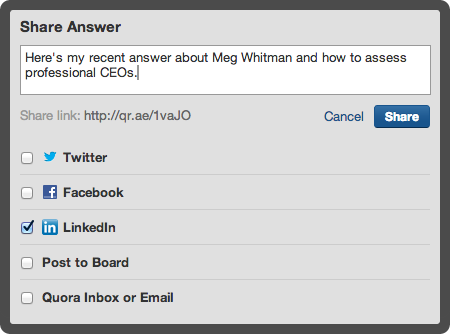 image 7 Quora users can now share contributions on LinkedIn, post answers directly to their profiles