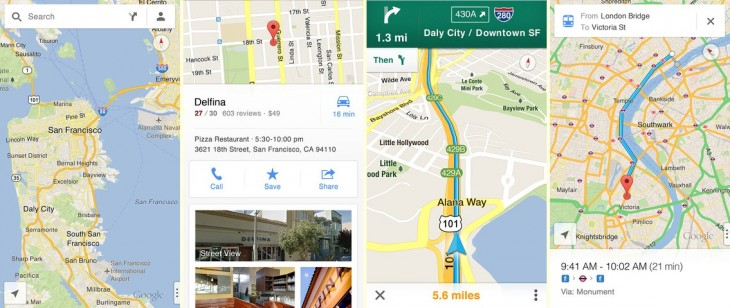 maps 730x308 Google Maps for iOS finally arrives; includes voice, turn by turn, StreetView and developer SDK