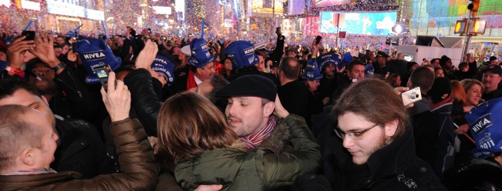 Revelers celebrate the New Year January