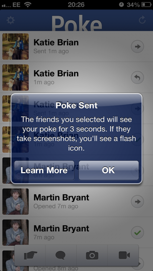 photo5 520x923 Facebooks Poke: A Snapchat like app that lets you send messages that expire after 1, 3, 5 or 10 seconds