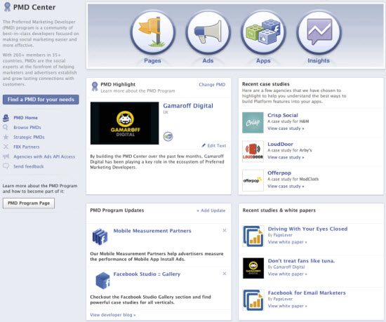 shot 1 Facebook builds a Preferred Marketing Developer Center app to better connect ad companies and vendors