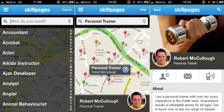 SkillPages iPhone app screenshot