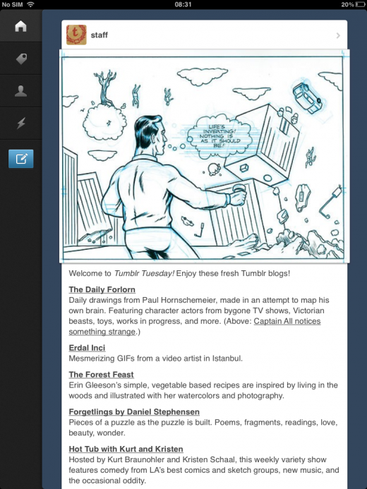 tumblr2 520x693 Tumblr for iOS finally gets iPad support, featuring Path like explore menu, markdown support