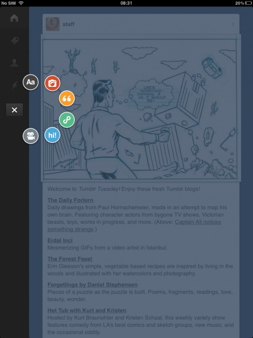 tumblr3 520x693 Tumblr for iOS finally gets iPad support, featuring Path like explore menu, markdown support