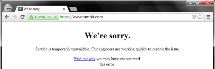 tumblr outage 730x234 Tumblr confirms users are experiencing slow loading and intermittent errors (Update: Now fixed)