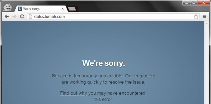 tumblr status 730x361 Tumblr confirms users are experiencing slow loading and intermittent errors (Update: Now fixed)