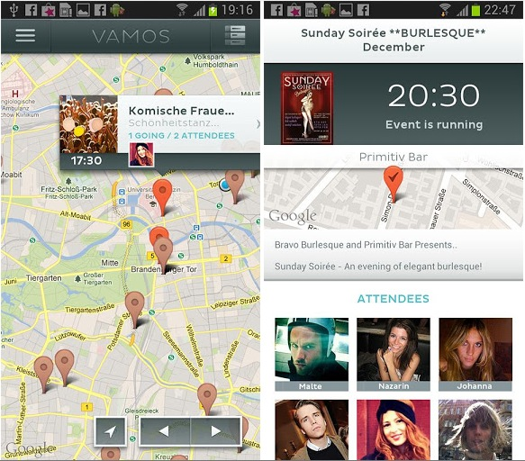 vamos android screenshots Event discovery startup Vamos launches Android app, highlights visuals