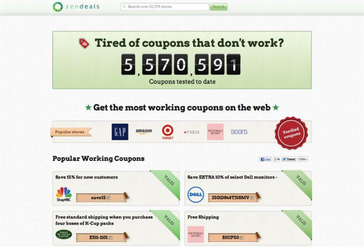 ZenDeals homepage