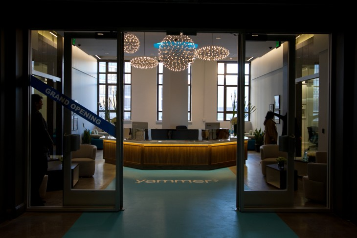 The entrance to Yammer's new headquarter office