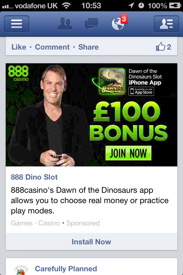 Facebook gambling adverts casino blinds