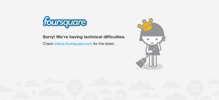 Screen Shot 2013 01 24 at 15.20.48 730x335 Foursquare suffers widespread outage, leaving website and mobile apps inaccessible for hours
