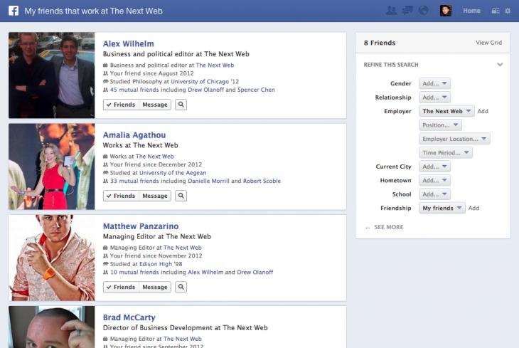 Facebook display results