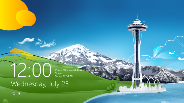 Windows 8 RTM Lock Screen 730x410 A look at the design process behind Windows 8s Start screen and Lock screen wallpaper