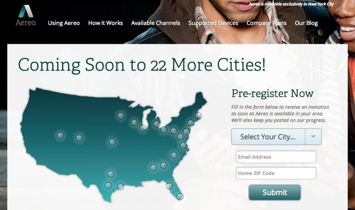 aereo tv map 730x432 Aereo TV is set to expand into 22 more US cities from late spring following $38m funding