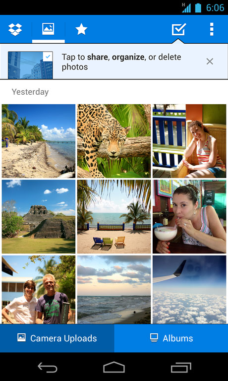 albums list 4 Dropbox for Android gets ability to quickly share collections of photos, even to those without an account