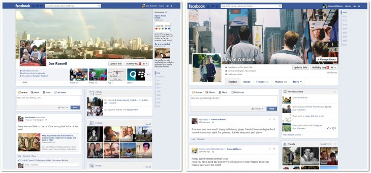 fbcompared 730x341 Facebook begins rolling out new single column Timeline with greater emphasis on messages [Updated]