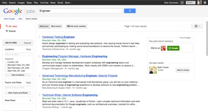 googlejobs2 730x389 Google integrates Google+ profiles into its company jobs board, adding one click applications and more