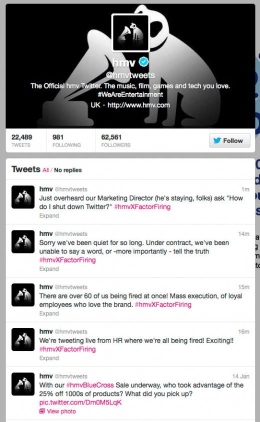hmv tweets 520x844 HMV staff hijack company Twitter account to live tweet the sacking of 60 employees