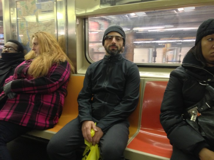 Spotted: Sergey Brin wearing Google Glass specs as he blends in on NYC subway
