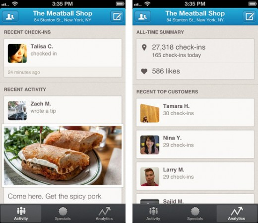 Foursquare launches dedicated iPhone app for US businesses, with analytics, local updates and more