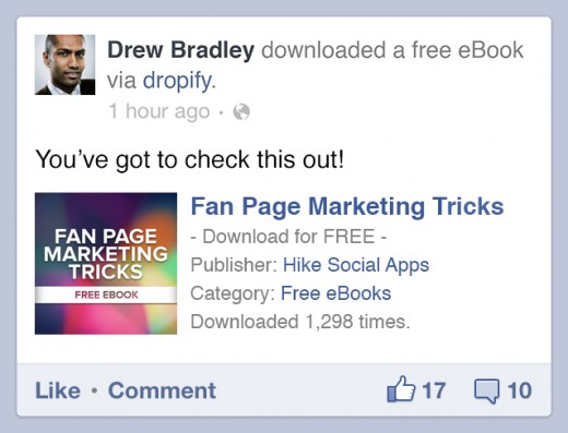 newsfeed post 520x397 Dropify: Embed any file on Facebook for friends and fans to download directly
