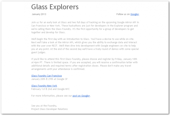 oBfnu 730x495 Google sends invites for first Project Glass hackathons, coming January and February
