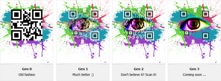 qr code generations 730x269 Visualead aims to kill off ugly QR codes with its new almost invisible design