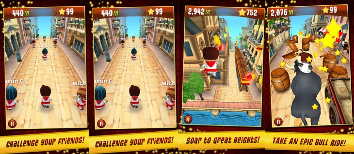 run with friends screens 730x318 Zynga releases Running with Friends where players can flee the Pamplona Bulls of Spain