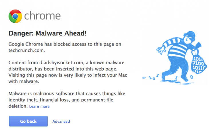 techcrunch malware 730x457 Google flags ad network isocket for alleged malware; Chrome blocks TechCrunch, Cult of Mac, others (Updated)