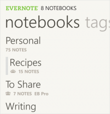 wp7 notebooks2 220x228 Evernote updates its Windows Phone app to support Business service, PIN locking, styled text options