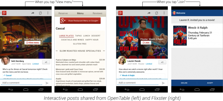 4b interactive opentable flixster 730x330 Google takes on Facebook Connect with Google+ Sign In, bringing easy sharing to 10 launch partners
