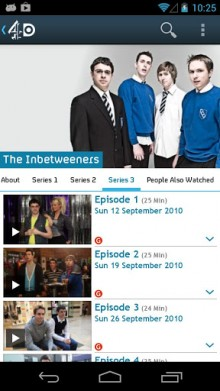 An1 220x391 The UKs Channel 4 gives its catch up TV service 4oD a native Android app
