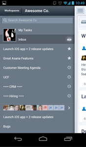 Asana Android Navigation Asana finally takes its task management app to Android