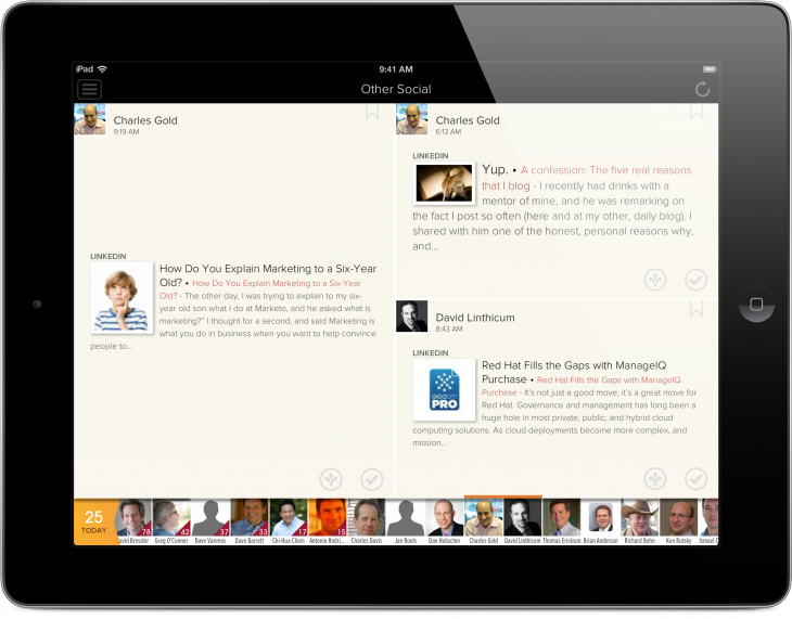 Cloze iPad 4 730x571 Cloze lands on iOS to beat back your inbox by combining your email and social feeds