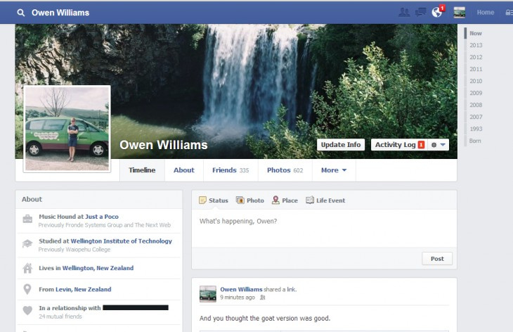 FBprofile 730x472 Facebook trials tweaked single column Timeline design and new Like Page button in New Zealand