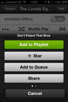 IMG 2982 220x330 Spotifys iOS app gets a more fluid, swipeable interface with new sidebar and Now Playing bar