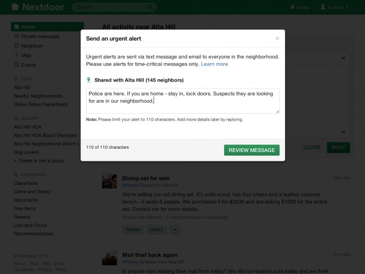 Nextdoor demo urgentalert 730x547 Neighborhood social network Nextdoor nabs $21.6m to grow its platform, coming to a doorstep near you