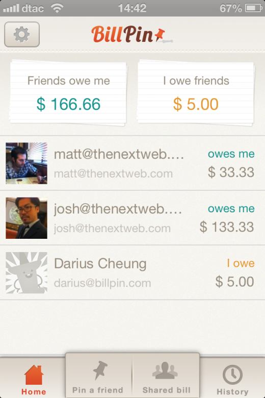 Photo 2013 02 20 02.15.09 PM 520x780 BillPin is a handy app to split bills between friends and keep track of who owes what