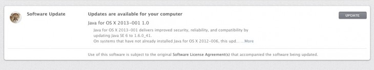 Screen Shot 2013 02 19 at 1.42.40 PM 730x138 Apple releases Java update for OS X to protect users against vulnerability used in its hacking