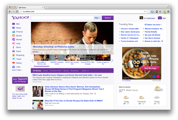 Screen Shot 2013 02 20 at 12.09.43 730x492 Yahoo launches a new, more intuitive and personal homepage