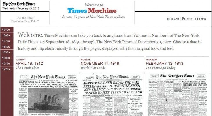TM 730x400 The New York Times taps its TimesMachine Web archives to offer a new ad program, launching with NatGeo