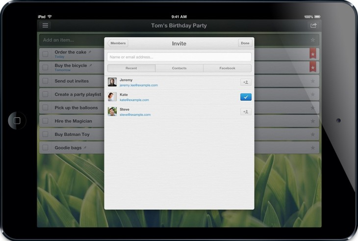 Wunderlist iPad Mini Share 730x491 With 3.5m registered users, Wunderlist takes its rebuilt, redesigned task management app to iPad