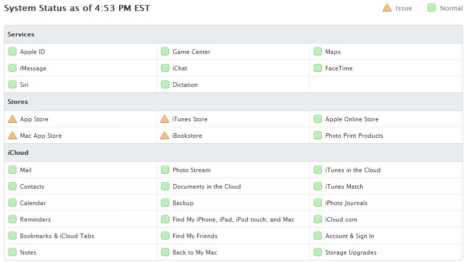 Apple's App Store, Mac App Store, iTunes Store, iBookstore Down