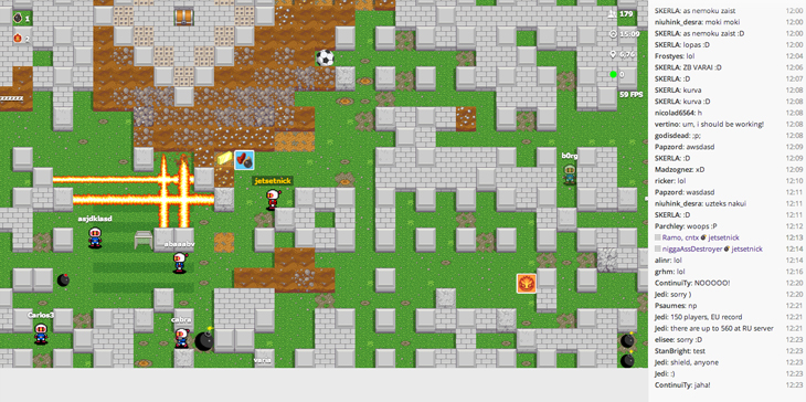 bombermine Remember Bomberman? Try playing it in the browser against up to 1,000 other people